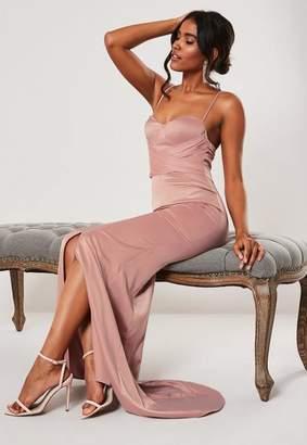Missguided Bridesmaid Blush Chiffon Wrap Fishtail Maxi Dress, Pink