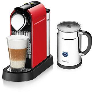 Nespresso Espresso Maker, Red Citiz with Aeroccino Milk Frother