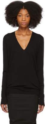 Rick Owens Black Merino V-Neck Sweater