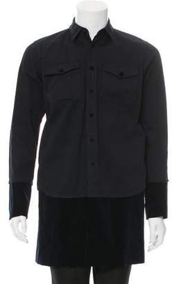 Sacai Velvet-Trimmed Button-Up Shirt w/ Tags