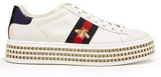 Gucci New Ace Crystal Embellished Leather Trainers - Womens - White