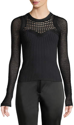 Narciso Rodriguez Round-Neck Textured Crochet Knit Top