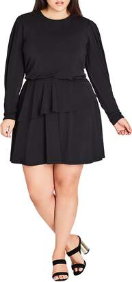 City Chic Rimple Tiered Skirt Dress