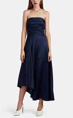 Narciso Rodriguez Women's Crepe-Back Satin Strapless Asymmetric Gown - Navy