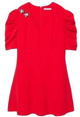 Violeta BY MANGO AppliquAAs puffed sleeves dress