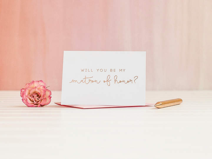 Etsy Will You Be My Matron of Honor card in Rose Gold Foil bridal party card, foil stamped notecard, wedd