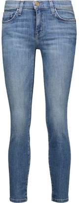 Current/Elliott The Stiletto Mid-Rise Cropped Faded Skinny Jeans