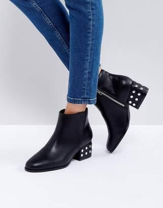 London Rebel Silver Stud Kitten heel Ankle Boot