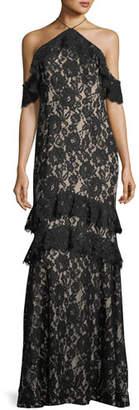 Aidan Mattox Long Lace Mermaid Cold-Shoulder Evening Gown