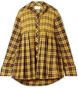 Matthew Adams Dolan Oversized Pleated Checked Cotton Shirt - Bright yellow