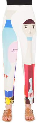 Akris Wooden Doll Print Crepe Skinny Pants
