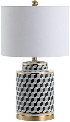 Jonathan Y Ellie 24.5In Tumbling Block Ceramicmetal Led Table Lamp