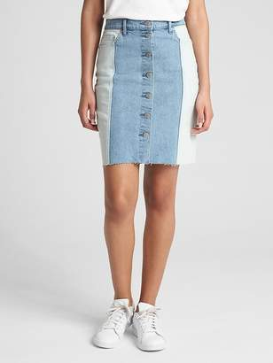 Gap High Rise Spliced Denim Skirt