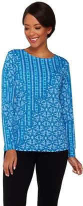Bob Mackie Long Sleeve Patchwork Printed Knit Top
