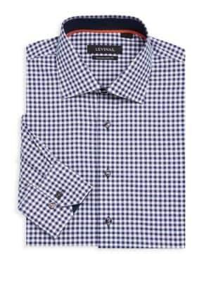 Contemporary-Fit Gingham Cotton Dress Shirt