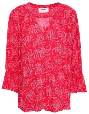 BA&SH Chik Gathered Printed Voile Blouse