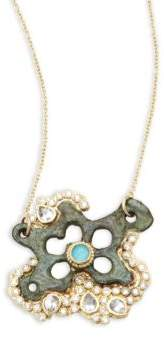Armenta Sueno White Diamond, Turquoise Sapphire, White Sapphire & 18K Goldplated Star Pendant Necklace