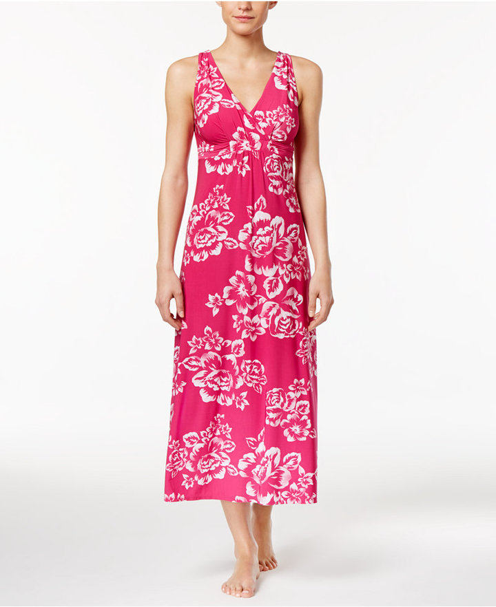 Alfani Alfani Floral-Print Knit Long Nightgown, Only at Macy's