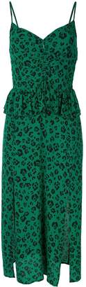 SUBOO Leopard Gathered Split Dress