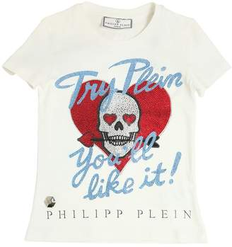 Philipp Plein Junior Embellished Heart & Skull Cotton T-Shirt