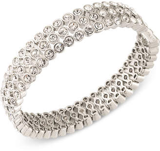 Carolee Silver-Tone Crystal Bangle Bracelet