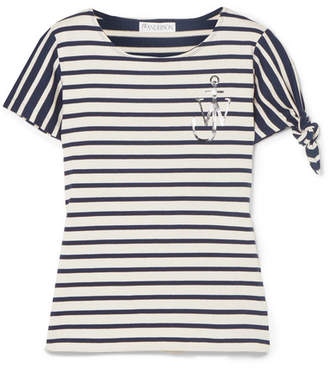 J.W.Anderson Printed Striped Cotton-jersey T-shirt - Navy