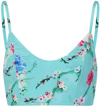 Sophie Cameron Davies Mint Blossom Silk Crop Top