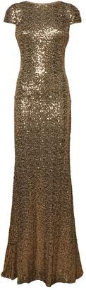 Badgley Mischka Cowl Back Sequin Gown