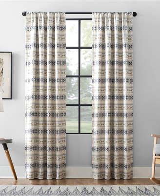 """Archaeo Ikat Stripe Cotton Blend Blackout Curtain, 40"""" W x 95"""" L"""