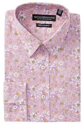 Nick Graham Floral Print Stretch Slim Fit Dress Shirt