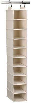 Household Essentials 3328-1 Cotton Canvas Hanging Closet Shoe Organizer | 10-Shelf | Natural