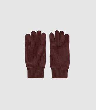 Reiss Glen - Ribbed Knit Gloves in Bordeaux