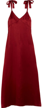 Reformation - Silk Maxi Dress - Red $300 thestylecure.com