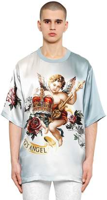 Dolce & Gabbana Oversize Angels Printed Cotton T-Shirt
