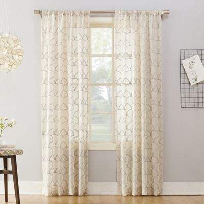 No.918 Lima Embroidered 84-Inch Rod Pocket Window Curtain Panel in Stone