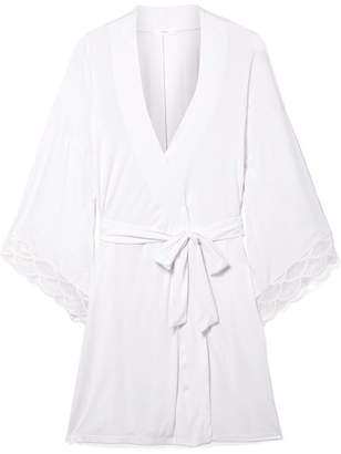 Eberjey Matilda The Mademoiselle Lace-trimmed Stretch-modal Jersey Robe - White
