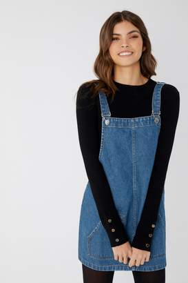 boohoo Womens Denim Pinafore Dress - Blue