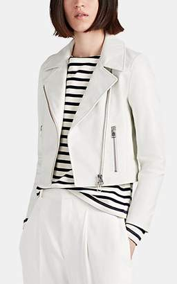 Barneys New York Women's Leather Crop Moto Jacket - White