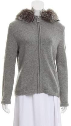 St. John Sport Fur-Trimmed Cashmere Cardigan