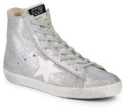 Golden Goose Superstar Dyed Shearling Lined Metallic High Top Sneakers