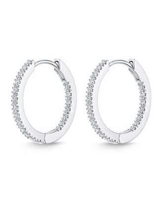 Memoire Eternity Hoop Earrings in 18K White Gold, 0.33 tdcw