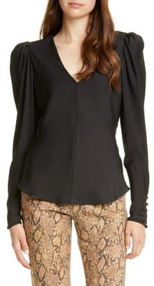 Frame Shirred Silk Long Sleeve Blouse
