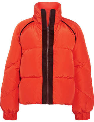 Ganni Wool Felt-trimmed Quilted Shell Down Jacket - Tomato red