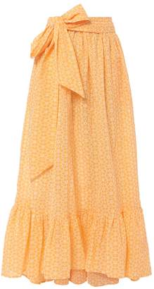 Lisa Marie Fernandez Nicole Eyelet Ruffle Hem Orange Skirt