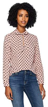 Adrianna Papell Women's Long Sleeve TIE Neck Blouse