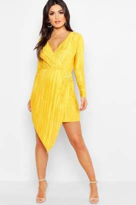 boohoo Long Sleeve Plisse Wrap Ring Detail Midi Dress