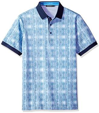 Bugatchi Men's Short Sleeve Fitted Cotton Pique Polo