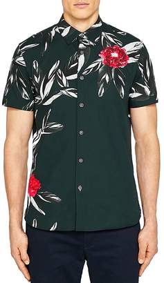 Ted Baker Bartwo Placement Print Regular Fit Button-Down Shirt