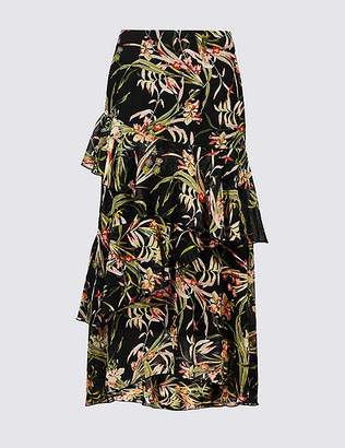 Marks and Spencer Floral Print Ruffle Wrap Midi Skirt