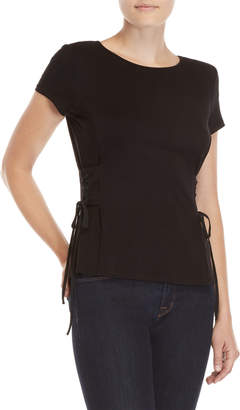 Vince Camuto Crew Neck Lace-Up Tee